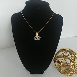 Good Stainless Dainty Rhinestone Crown Necklace